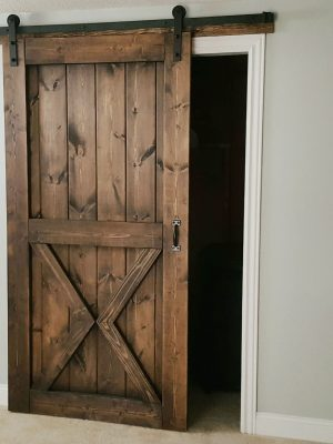 Gray Wash Sliding Barn Door - 2 Panel Z Style