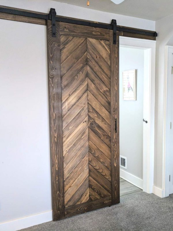 stained chevron barn door