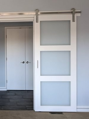 frosted glass 3 panel barn door