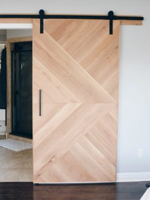 geometric white oak barn door