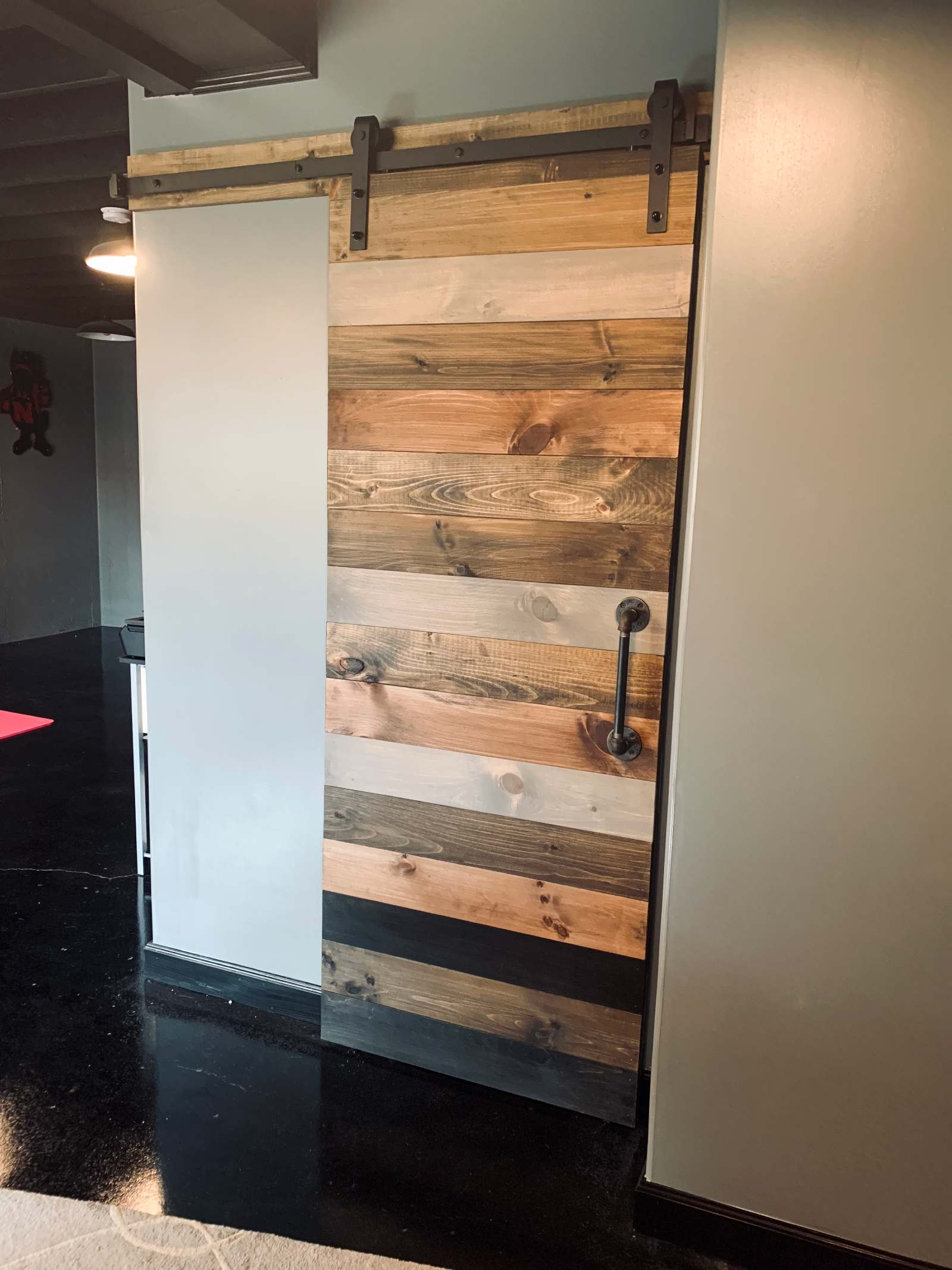 Mixed Stain Barn Door Sliding Horizontal Plank Walston Door Company