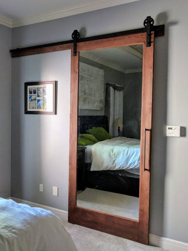 full mirror stained frame barn door